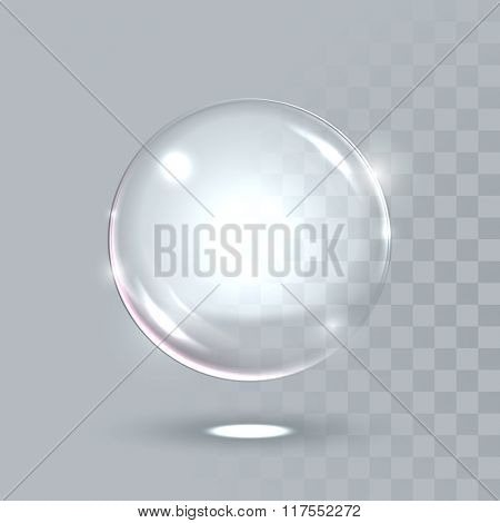 Vector 3D realistic water spherical ball. Glassy sparkling shiny droplet bubble isolated on transparent background. Eco concept.
