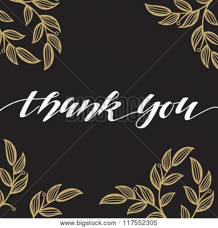 Thank You vector hand signature calligraphic lettering on dark gray background with floral ornament. Handmade postcard.