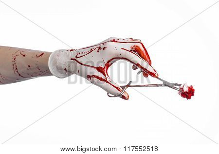 Surgery And Medicine Theme: Doctor Bloody Hand In Glove Holding A Bloody Surgical Clamp With Swab An
