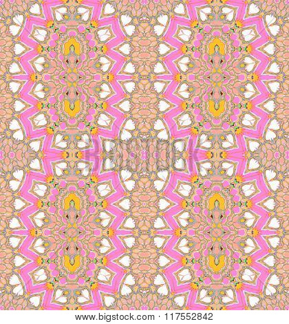 Seamless ellipses pattern pink violet yellow white