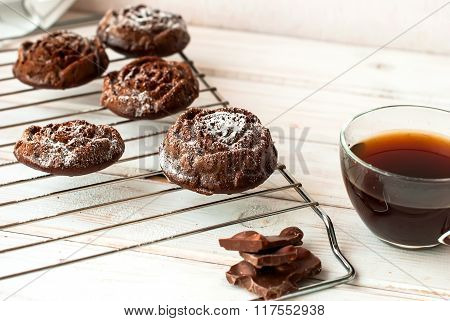 Roses Chocolate Muffins And A Cup Of Black Coffee