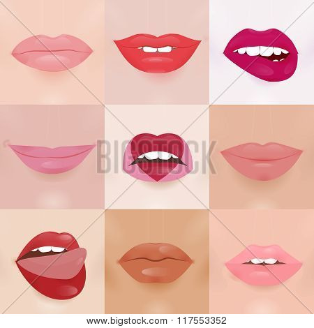 Set of glamour lips with different lipstick colors
