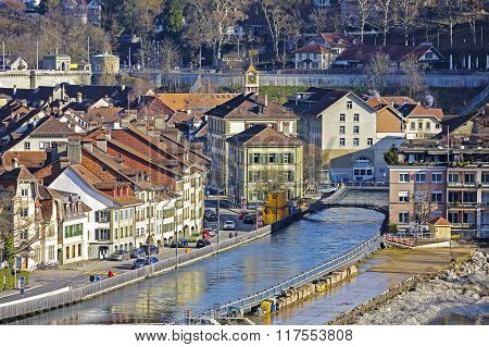 Townhouses By The Aare River In Bern