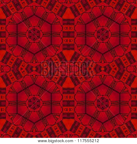 Seamless hexagon pattern red black