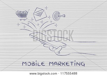 Email, Cart & Target Coming Out Of A Smartphone, Mobile Marketing