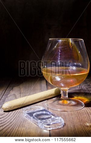 Cognac In Glass And Cigar