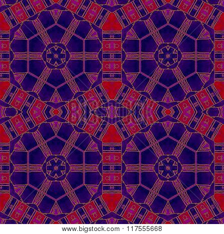 Seamless hexagon pattern red purple violet