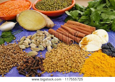 Indian Spices, Fresh And Dried On Purple Background, Market