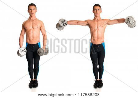 Dumbbell Lateral Raise. Studio composite over white.