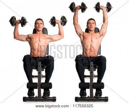 Seated Shoulder Press. Studio composite over white.