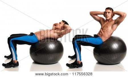Man exercising with a stability ball. Studio composite over white.