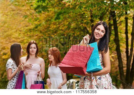 autumn Shopping smiling woman