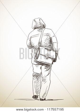 Sketch of walking man, Hand drawn illustration