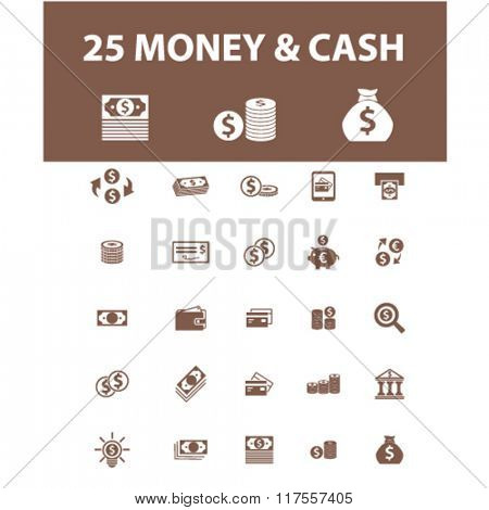 Money payment, money icons, online money, cash icons, signs vector concept set for infographics, mobile, website, application