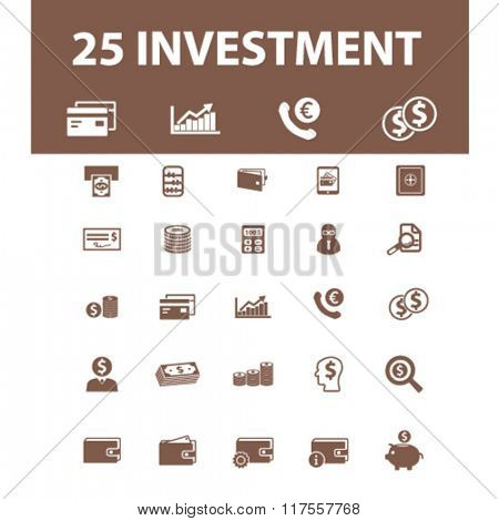 investment  icons, signs vector concept set for infographics, mobile, website, application