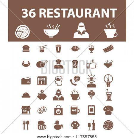 Restaurant, restaurant menu, restaurant dinner icons, signs vector concept set for infographics, mobile, website, application