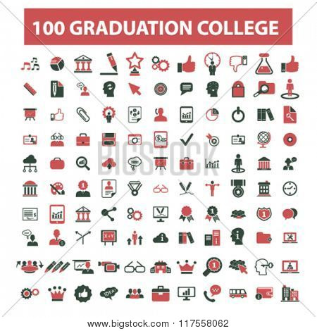 graduation, college, education, learning, study, science, research  icons, signs vector concept set for infographics, mobile, website, application