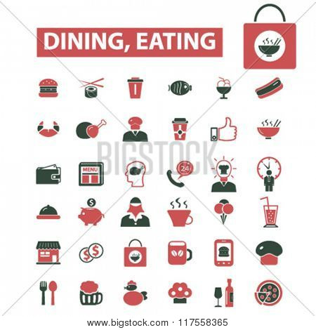 dining, eating, fast food, restaurant  icons, signs vector concept set for infographics, mobile, website, application