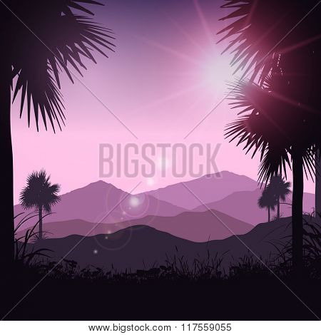 Silhouette of palm trees in a tropical landscape