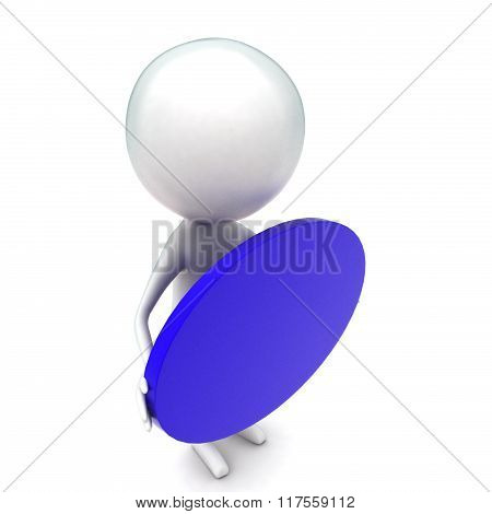3D Man Holding Blue Oval Shape In Hands Concept