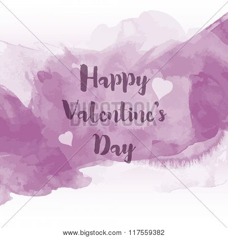 Decorative Valentine's Day background with watercolour design