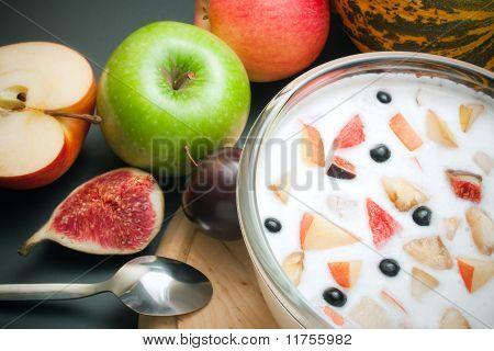 Yogurt Mixed With Fruit Pieces