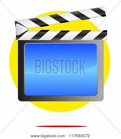 Illustration Of Movie Symbol With Yellow Circle Background