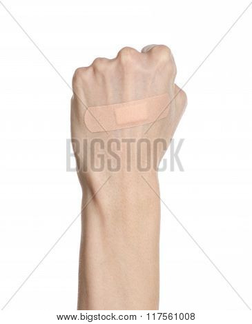 Medical Theme: For A Man's Hand Glued Medical Plaster First Aid Plaster Advertising On A White