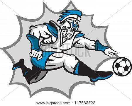 Roman Warrior Soccer Player Ball Retro