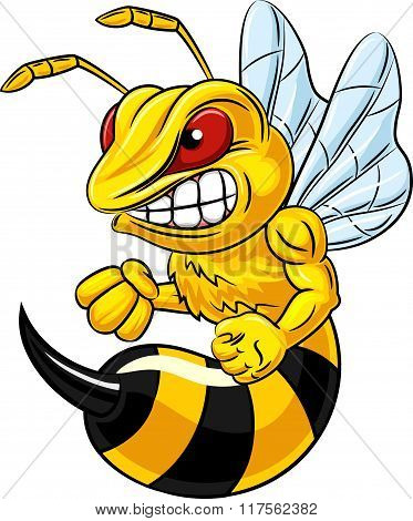 Angry bee mascot isolated on white background