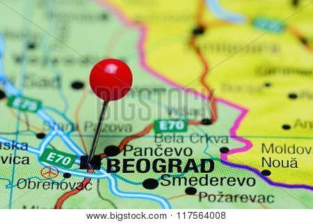 Belgrade pinned on a map of Serbia