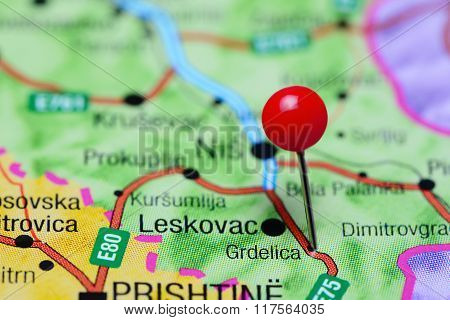 Grdelica pinned on a map of Serbia