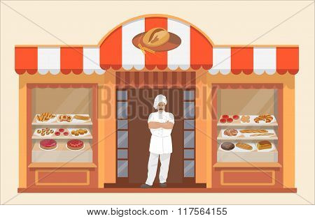 Bakery shop building with bakery products and Baker
