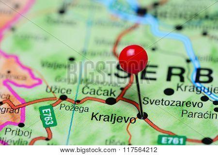 Kraljevo pinned on a map of Serbia