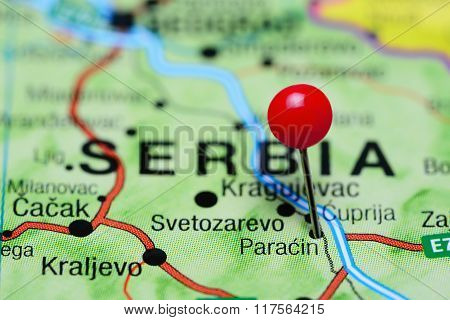 Paracin pinned on a map of Serbia