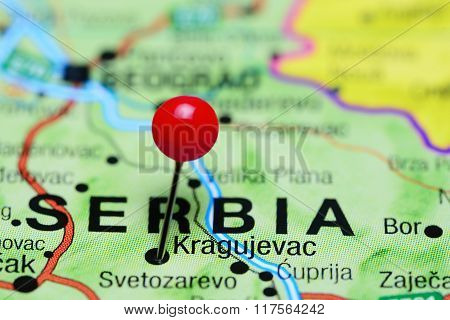 Kragujevac pinned on a map of Serbia