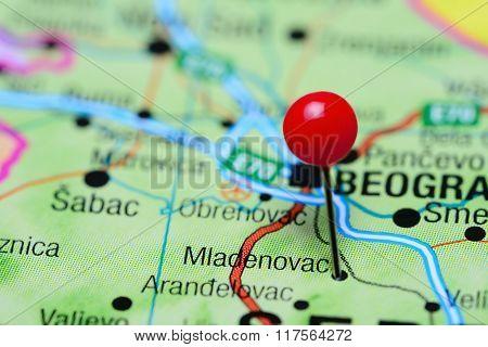 Mladenovac pinned on a map of Serbia