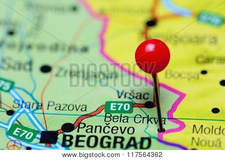 Bela Crkva pinned on a map of Serbia