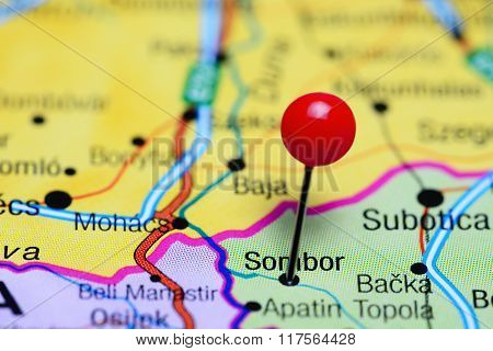 Sombor pinned on a map of Serbia