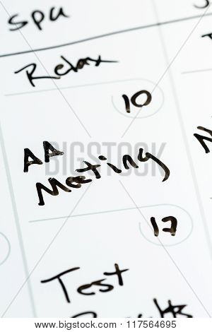 Aa Meeting On A Calendar