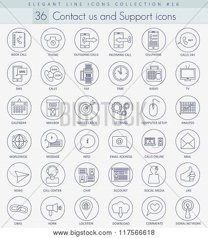 Vector contact us outline icon set. Elegant thin line style design