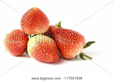 Sweet ripe strawberries isolated on white background