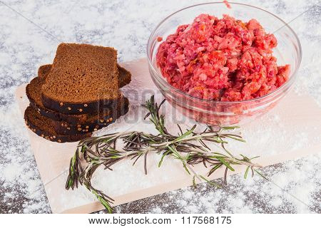 Raw Minced Meat With Bread And Rosemary