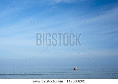 Morning swimming in Baltic sea