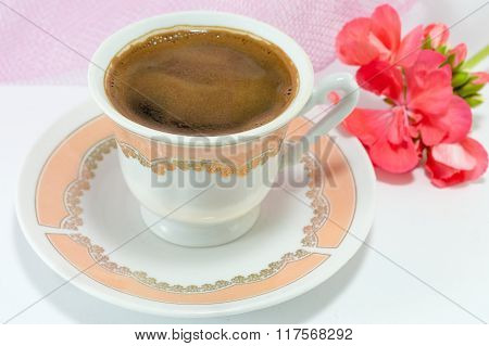 Vintage Cup Of Coffee And  Flowers