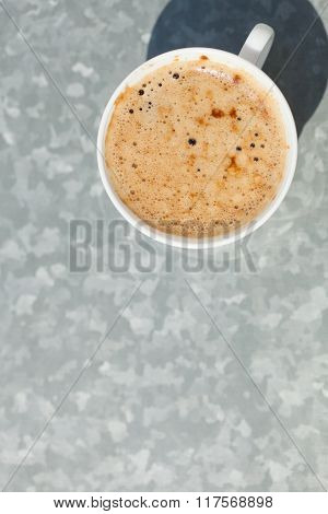 Beverage. Cup Of Coffee Hot Drink On Gray
