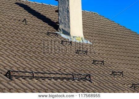 The Roofing Tiles House Roof With Chimney Sky Background
