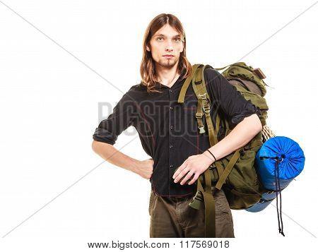 Man Tourist Backpacker Portrait. Summer Travel.