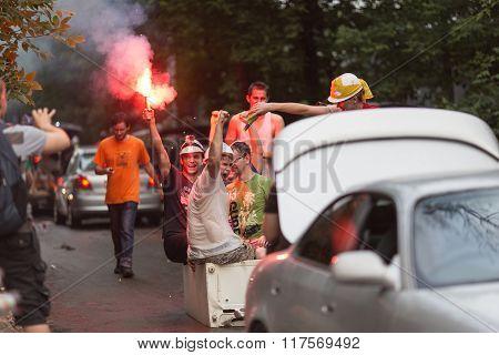 MOSCOW, RUSSIA-JUNE 28, 2013:Drunk Russian students celebrate university graduation