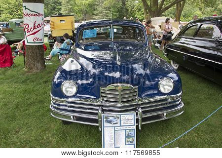 1949 Packard Blue Car Front View